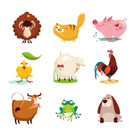 Set of farm animals and birds vector illustration collection setのイラスト素材