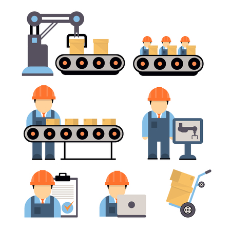 Production process , installation of engineering equipment of industrial production machine operators icons flat line Separate vector illustration