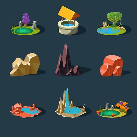 Elements landscape vector illustration for games modern style