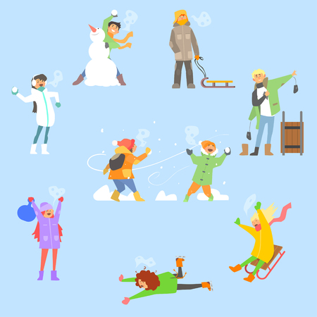 Winter Fun and Activities. Vector Illustration Collection