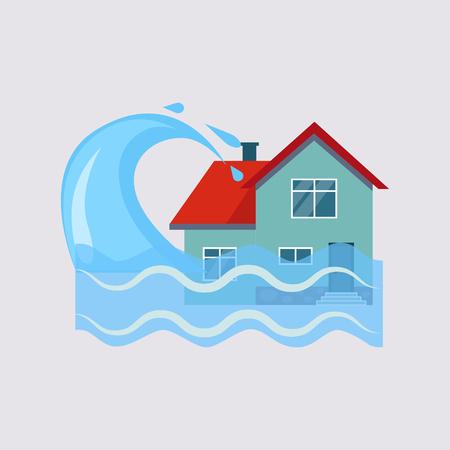 Illustration pour Flood House Insurance Colourful Vector Illustration flat style - image libre de droit