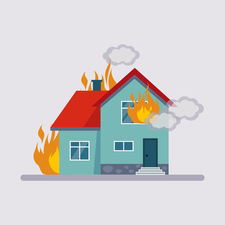 Illustration for Fire Insurance Colourful Illustration flat style - Royalty Free Image