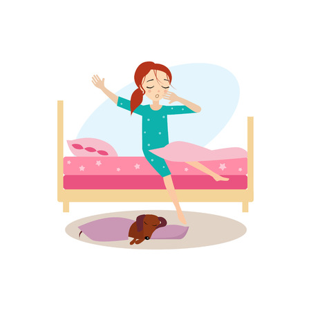 Waking Up. Daily Routine Activities of Women. Colourful Vector Illustration