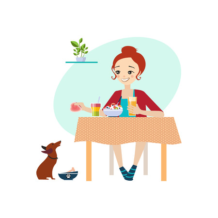 Eating at Home. Daily Routine Activities of Women. Colourful Vector Illustration