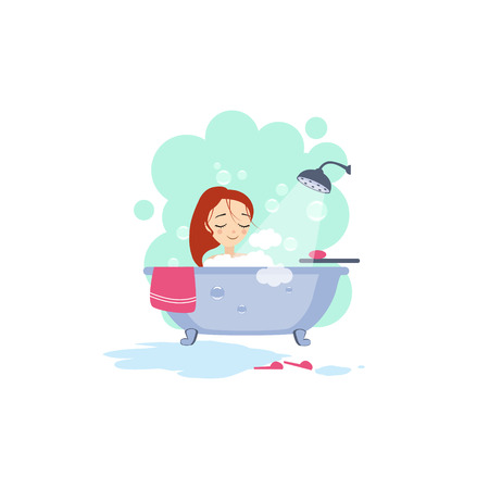 Illustration for Bathing. Daily Routine Activities of Women. - Royalty Free Image