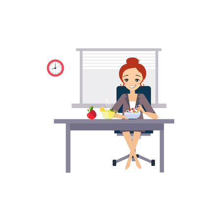 Illustration pour Eating at Work. Daily Routine Activities of Women. Colourful Vector Illustration - image libre de droit