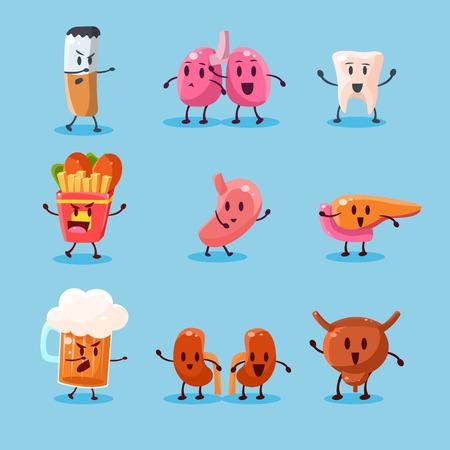Bad Habits Danger. Vector Illustration Collection Harmful dependence, destruction of internal organs