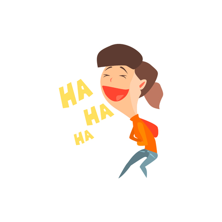 Laughing Girl Flat Vector Emotion Illustration In Graphic Style Isolated On White Background
