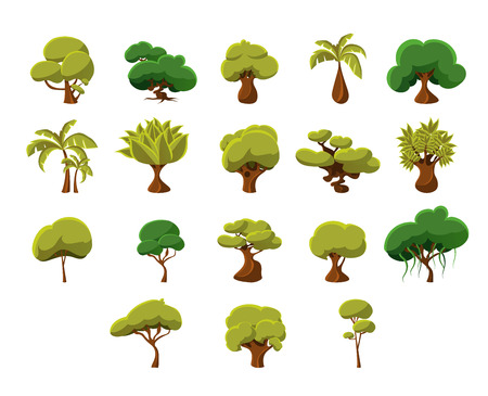 Illustration pour Tropical Trees Video Game Flat Vector Design Icons Set Of Isolated Items on White Background - image libre de droit