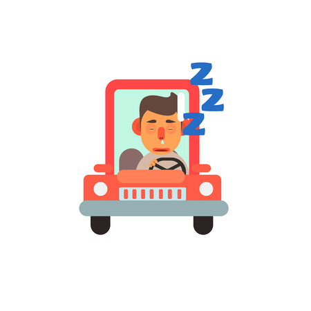 Traffic Code Sleeping Behind The Wheel Flat Isolated Vector Image In Simplified Cute Childish Style On White Background