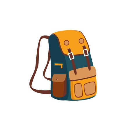 Illustration pour Backpack With Yellow Pockets Cartoon Simple Style Colorful Isolated Flat Vector Illustration On White Background - image libre de droit