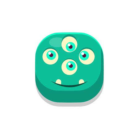 Satisfied Monster Square Icon Isolated On White Background In Fun Childish Emoji Style Vector Design