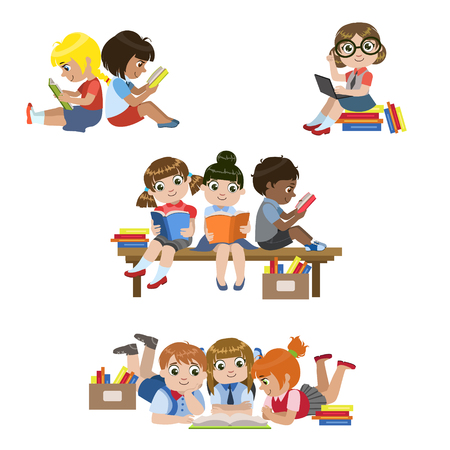 Ilustración de Kids Reading Books Set Of Colorful Simple Design Vector Drawings Isolated On White Background - Imagen libre de derechos