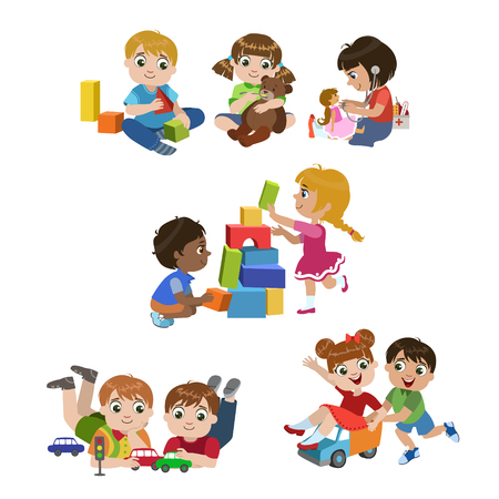 Ilustración de Kids Playing Indoors Set Of Colorful Simple Design Vector Drawings Isolated On White Background - Imagen libre de derechos