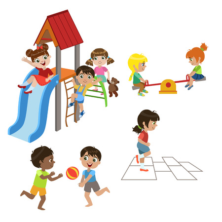 Kids Playing Outdoors Set Of Colorful Simple Design Vector Drawings Isolated On White Background