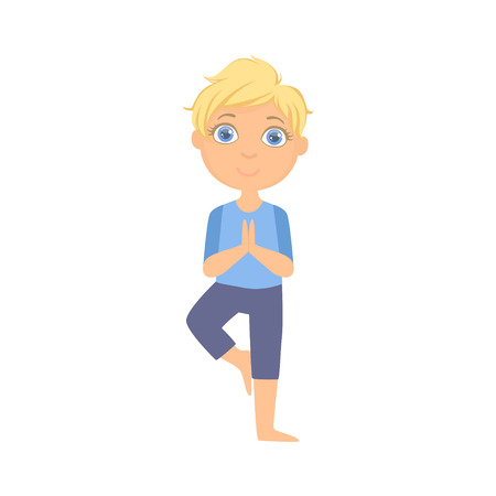 Boy In Tree Pose Bright Color Cartoon Childish Style Flat Vector Drawing On White Background