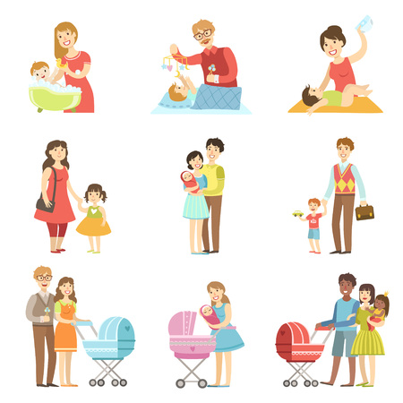 Illustration pour Happy Families With Kids And Babies Flat Childish Cartoon Style Bright Color Vector Illustration On White Background - image libre de droit