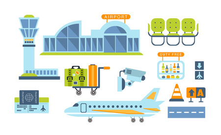 Airport Related Objects Set Of Simplified Flat Cartoon Style Vector Stickers Isolated On White Background