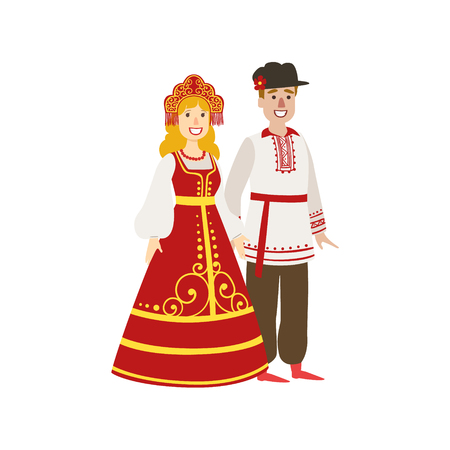 Illustration pour Couple In Russian National Clothes Simple Design Illustration In Cute Fun Cartoon Style Isolated On White Background - image libre de droit