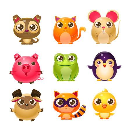 Illustration pour Sweet Baby Animals In Girly Design. Set Of Bright Color Vector Icons Isolated On White Background. Cute Childish Animal Characters Design. - image libre de droit
