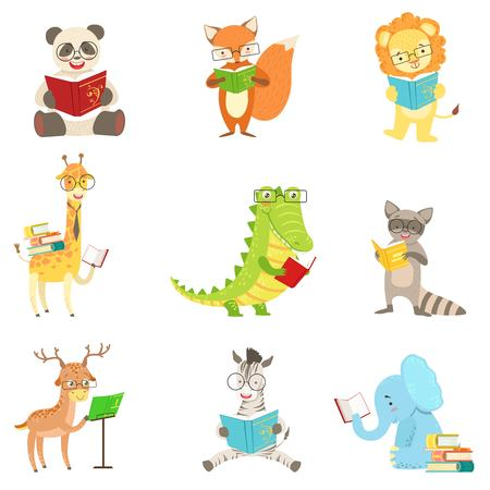 Foto de Cute Animal Characters Reading Books Set. Childish Cartoon Style Humanized Animals Vector Stickers Isolated On White Background. - Imagen libre de derechos