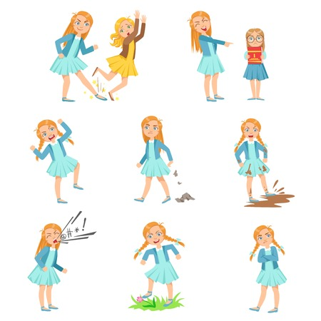 Illustration pour Older Girl Bullying Young Children And Behaving Badly Set. Bright Color Isolated Vector Drawings In Simple Cartoon Design On White Background - image libre de droit