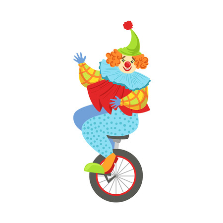 Colorful Friendly Clown Balancing On Unicycle In Classic Outfit. Childish Circus Clown Character Performing In Costume And Make Up.