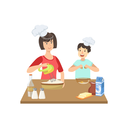 Illustration for Mother And Child Cooking Together Illustration. Cute Simple Cartoon Style Drawing Of Single Mom And Her Kid Pastime. - Royalty Free Image