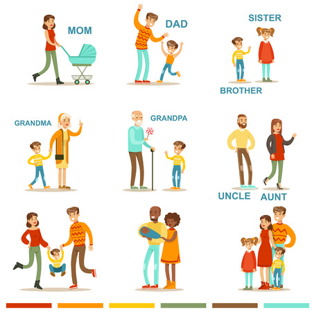 Illustration for Happy Large Family With All The Relatives Gathering Including Mother, Father, Aunt, Uncle And Grandparents Illustrations With Corresponding Words. - Royalty Free Image