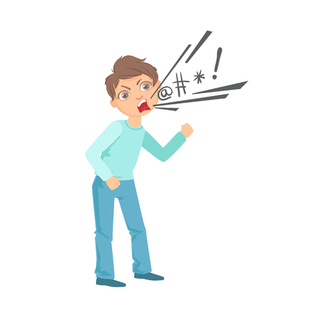 Illustrazione per Boy Cursing Teenage Bully Demonstrating Mischievous Uncontrollable Delinquent Behavior Cartoon Illustration. Cute Big-Eyed Child Vector Character Behaving Aggressively And Bullying Other Children. - Immagini Royalty Free