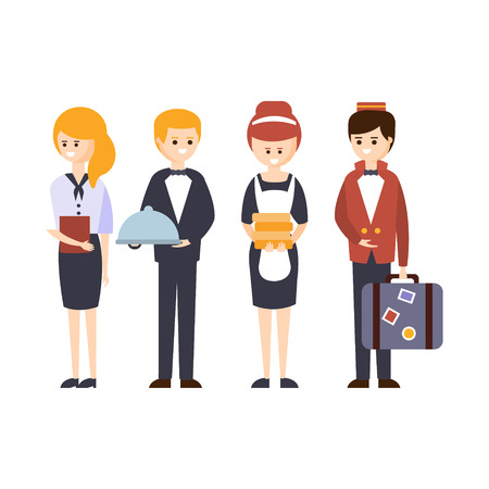 Illustration pour Hotel Staff, Waiter, Bellhop, Administrator And Maid Hotel Themed Primitive Cartoon Illustration. Part Of Inn Clients And Employees Collection Of Situations Vector Flat Drawings. - image libre de droit