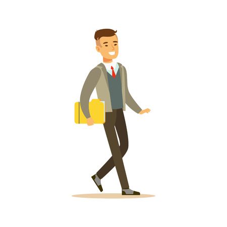 Illustration for Businessman Walking Fith Folder, Business Office Employee In Official Dress Code Clothing Busy At Work Smiling Cartoon Characters - Royalty Free Image