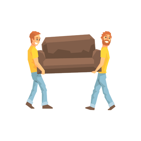Illustration for Two Movers Carrying Sofa For Ressetlement,Delivery Company Employees Delivering Shipments Illustration. Part Of Manual Laborer Loading And Bringing Items Cartoon Characters Set. - Royalty Free Image