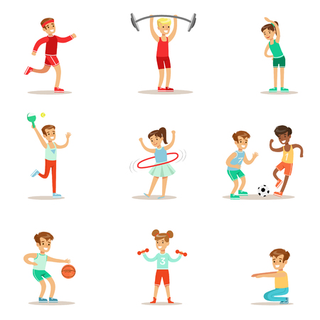Illustration pour Kids Practicing Different Sports And Physical Activities In Physical Education Class Gym And Outdoors. Children Playing Football, Table Tennis, Basketball And Doing Athletic Exercises. - image libre de droit