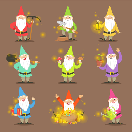 Illustration pour Classic Garden Gnomes In Colorful Outfits Set Of Cartoon Characters Different Situations - image libre de droit
