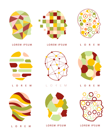 Illustration pour Thinking Inside Human Head Different Geometric Abstract Design Icons - image libre de droit
