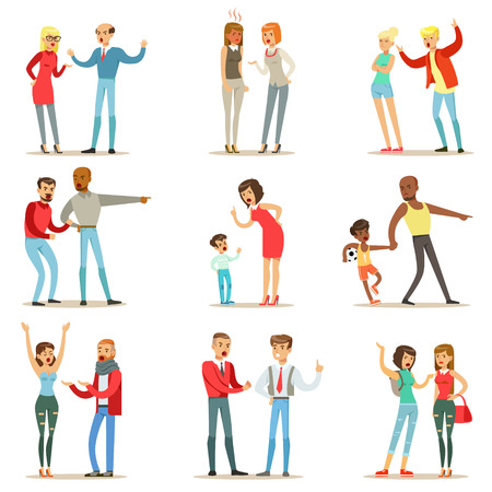Illustration pour People Fighting And Quarrelling Making A Loud Public Scandal Collection Of Cartoon Characters Aggressive And Violent Behavior Illustrations - image libre de droit