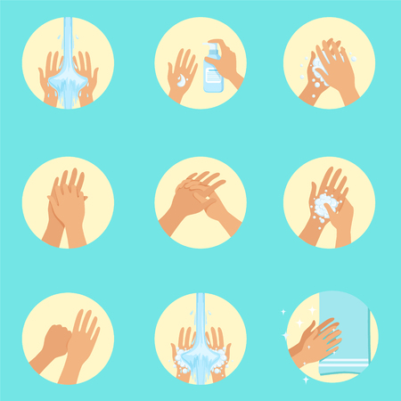 Ilustración de Hands Washing Sequence Instruction, Infographic Hygiene Poster For Proper Hand Wash Procedures. Info Illustration How To Clean Palms In Hygienic Way Series Of Vector Icons. - Imagen libre de derechos