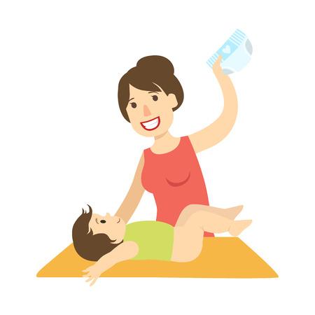 Illustration pour Mother Changing Nappy To A Baby On Changing Table, Illustration From Happy Loving Families Series - image libre de droit