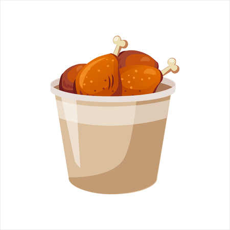 Deep Fried Chicken Legs Paper Bucket, Street Fast Food Cafe Menu Item Colorful Vector Icon