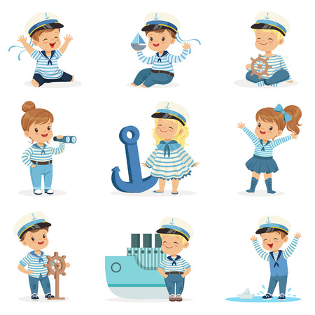 Illustration pour Small Children In Sailors Costumes Dreaming Of Sailing The Seas, Playing With Toys Adorable Cartoon Characters - image libre de droit