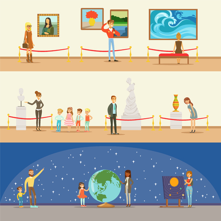 Illustration pour Museum Visitors Taking A Museum Tour With And Without A Guide Looking At Art And Science Exhibitions Series Of Illustrations - image libre de droit