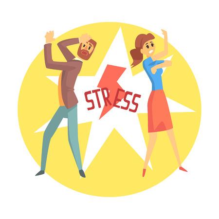 Illustration pour Stressed man and woman. Colorful cartoon character - image libre de droit