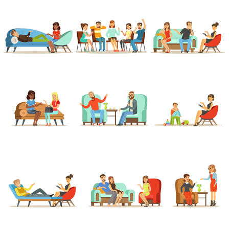 Ilustración de Patients at a reception at the psychotherapies. People talking to psychologist. Psychotherapy counseling, colorful Illustrations - Imagen libre de derechos