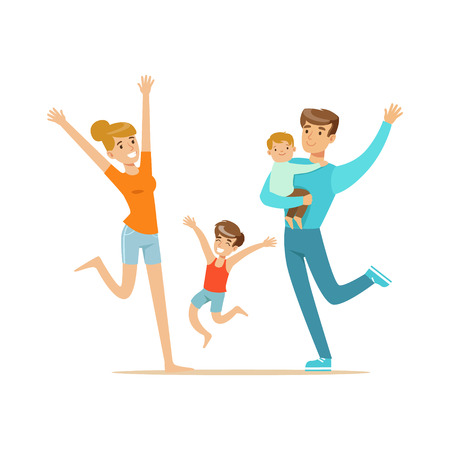 Illustration for Happy family with two kids having fun colorful characters vector Illustration isolated on a white background - Royalty Free Image