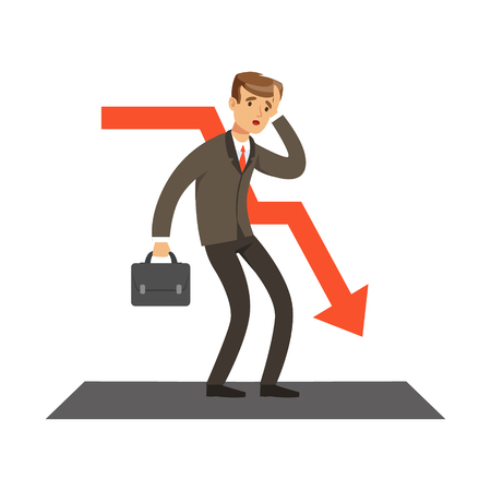 Failed businessman and red graph going down, unsuccessful character vector Illustration isolated on a white background