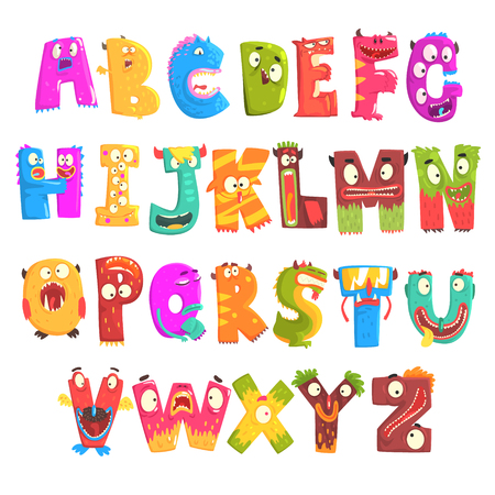 Ilustración de Colorful cartoon children English alphabet with funny monsters. Education and development of children detailed colorful Illustrations - Imagen libre de derechos