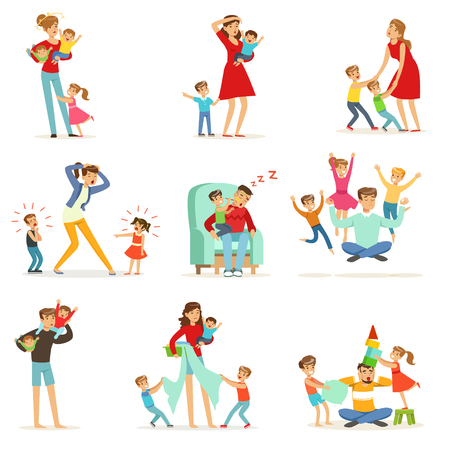 Illustration pour Tired parents and their children set, parenting stress vector Illustration isolated on a white background - image libre de droit