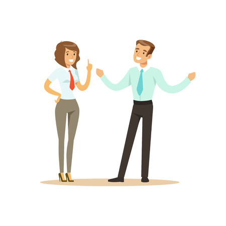 Ilustración de Smiling businessman and businesswoman having meeting in office vector Illustration isolated on a white background - Imagen libre de derechos