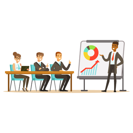 Illustration pour Businessman in suit making presentation and explaining chart on a whiteboard, business meeting in an office vector Illustration - image libre de droit